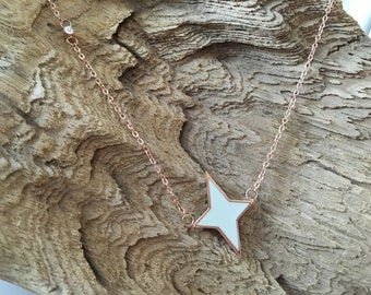Rose gold plated galactic star necklace