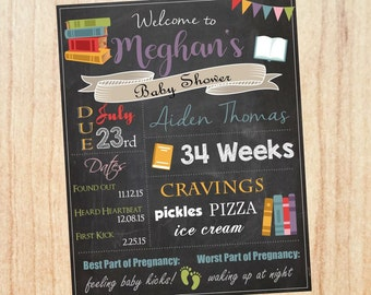 Book Baby Shower Welcome Sign. Book baby shower chalkboard. reading book Baby Shower decorations decor game custom
