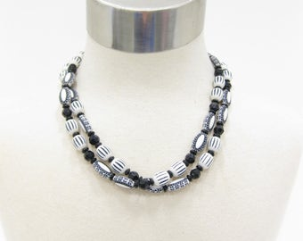 West Germany Black and White Double Strand Beaded Necklace