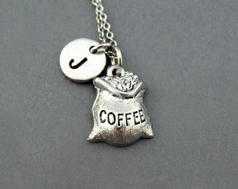 Coffee bean bag necklace, coffee bean charm, initial necklace, initial hand stamped, personalized, antique silver, monogram