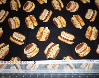 "BREAKFAST SANDWICH fabric by the yard, fq+, Benartex fabric, food fabric, ""Breakfast Club"" fabric, egg fabric, Kanvas fabric, biscuit fabric"