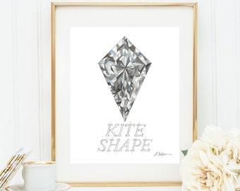 Kite Shape Diamond Watercolor Rendering printed on Paper