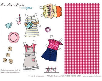 Paper Dolls - PDF Printable - Summer Picnic - 6 dolls and outfits