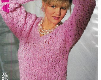 Ladies Lacy V Neck Sweater Knitting Pattern.