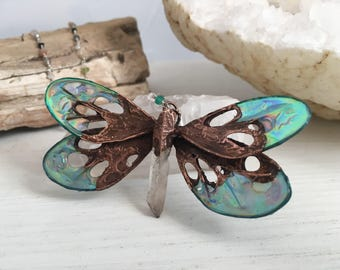 Wearable Art, Gemstone Beads, Dragonfly Pendant, Electroformed Jewelry, Copper Necklace, Festival Wear, Clear Quartz, Fairy Accesories