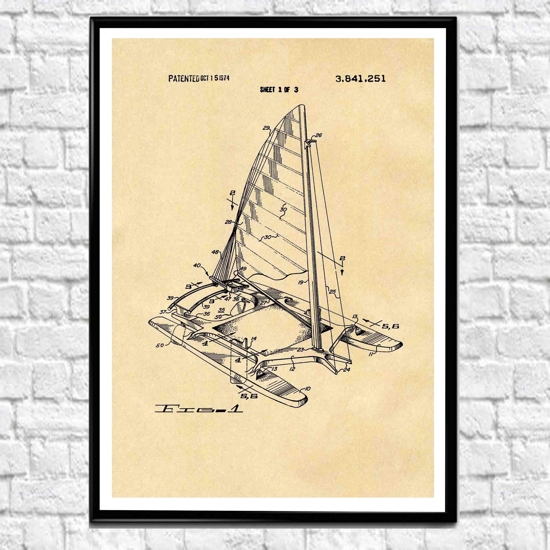 Catamaran Print Catamaran Poster Catamaran Decor Boar Wall Art ...