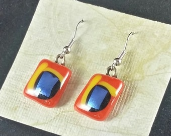 Red, Blue & Yellow Fused Glass Earrings. Glass Fusion Jewelry.