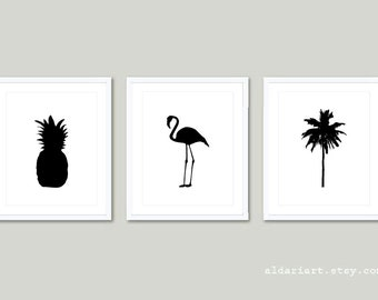 Pineapple Wall Art, Palm Tree Print, Flamingo Print, Set of 3 Prints, Tropical Prints, frames not included, 5x7 or 8x10 on 8.5x11
