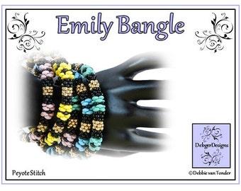 Beading Pattern, Tutorial, bangle - EMILY