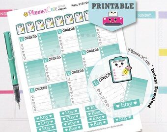 Etsy Shop Stickers,  Kawaii Printable Planner Stickers,  Teal Etsy Orders Tracking, Processing Etsy Orders, Erin Condren, K031