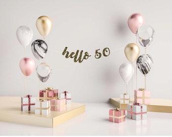 Custom Birthday Banner, Cheers to 50 Years Banner, 50th Birthday Banner, Hello 50 Banner, Birthday Sign, Gold Birthday Banner