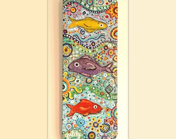 Fish Plaque Hand painted on wood Free Shipping USA