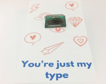Valentine's Day Humorous Card Funny Gift Cute Valentine Typewriter Pin Lapel Brooch Writer Gift Just My Type For Boyfriend Seasonal Greeting