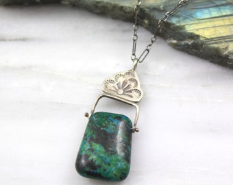 Chrysocolla and Stamped Silver Pinned Bail Oxidized Silver Necklace