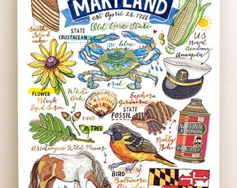 Maryland Print, State Symbols, Illustration, Old Line State, Home Decor.