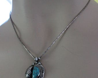 Old Vintage Native American Pawn Silver Sterling Turquoise Necklace