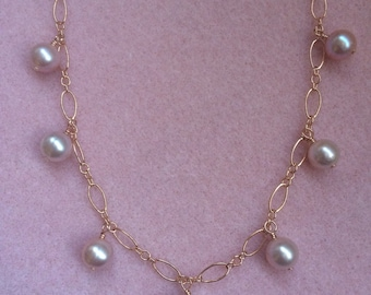 Rose Gold Filled and Freshwater Pearl Dangle Necklace