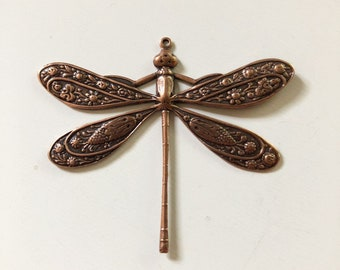 Vintage Victorian Dragonfly Pendant, Focal - Necklace Focal - Antique Copper - Ornate Scrolled Filigree - 45x40mm - 01 Each