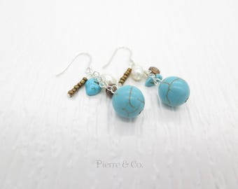 Turquoise Fresh water pearls Sterling Silver dangle Earrings