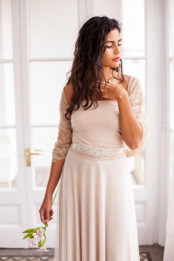 Wedding dress shawl bride cover up golden lace shrug golden