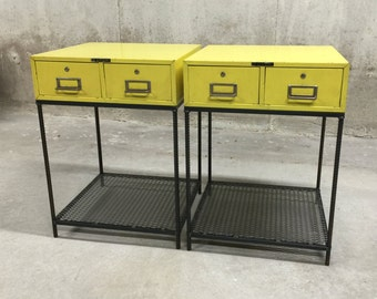 Vintage Industrial Nightstands- Pair
