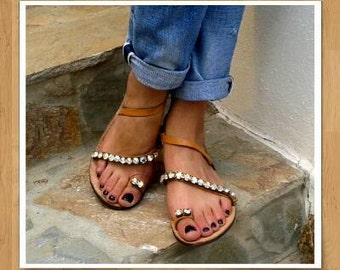 Handmade ankle strap leather sandals! Decorated with swarovski crystals. Genuine leather, Perfect Summer flat