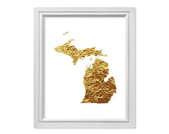 Gold Michigan State, Map of Michigan, Map of State of Michigan, Wall Art, Gold foil Michigan, Gift, Map United States Printable Michigan Map