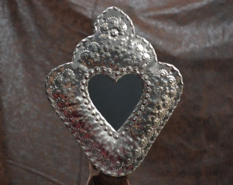 tin corazon heart mirror medium hand punched New Mexican tinwork Jason Younis y Delgado www.newmexicotinwork.com