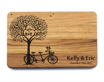 Personalized Cutting Board Tandem Bicycle (Bike) Wedding Gift. Anniversary Gifts, Bridal Shower Gift, Housewarming Gift, Valentines Day