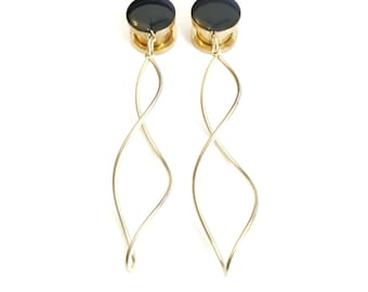 Black and Gold Infinity Twist Dangle Plugs / 8g, 6g, 4g, 2g, 0g, 00g, 1/2, 9/16, 5/8 inch / wedding plugs / hanging gauges / gold plugs