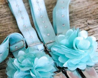 "Powder BLUE THIGH High sock GARTERS -  Crocodile clips onto lingeries - Customise with Pretty Flower - ""Something Blue' Wedding Garters"