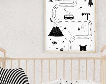 Nursery Road Map, Black and White Kids Room Ideas, Scandinavian Nursery Art, Kids Bedroom Decor, Playroom Wall Art, Baby Gift, Kids Posters