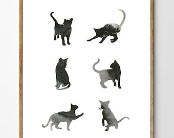 Black Cat Art Print, Cat Painting, Cat Wall Art, Nursery Art Animal, Cat Decor, Watercolor Animals // Six Cats