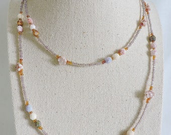 long beaded necklace, czech glass beaded necklace, pastel beaded necklace