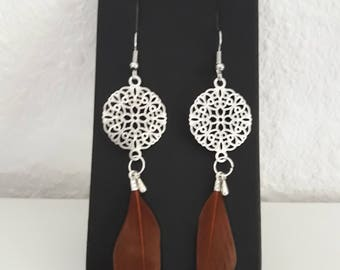 Rose and Brown feather earrings