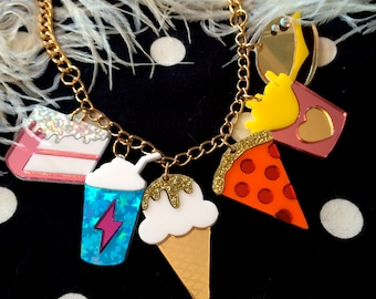 Junk Food Acrylic Charms Necklace, Laser Cut Acrylic, Plastic Jewelry