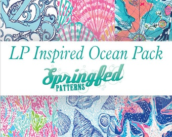 LP Inspired OCEAN Beach Pattern Craft Vinyl Project Pack Choose Adhesive Vinyl or HTV Sheets