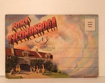 ON SALE Fort Ticonderoga NY New York Old Vintage 1940's 1950's Souvenir Postcard Booklet