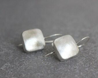 Geometric Earrings, Silver Square Earrings, Silver Geometric Earrings, Dangle Earrings, Geometric Dangle Earrings