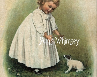 """Baby Dog, Baby Girl Art, Restored Antique ART Print  """"Come Here Baby"""" #139"""