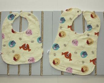 Custom Bibs/Winnie The Pooh Baby Bib/Infant Washable Cotton Bib/Toddler Washable Cotton Bib/Handmade Bib/Wooden Teether/Custom Burp cloth
