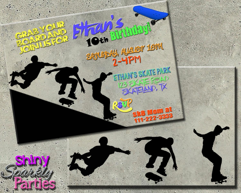 Geburtstagsparty Einladung Geburtstag Einladung Skateboard