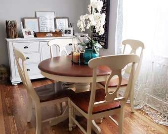 Farmhouse Rustic Round White And Brown Distressed Table And Chairs