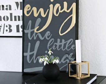 SALE Handwriting Print Motivational Poster, Enjoy The Little Things Scandinavian Poster, Minimalist Poster Gold Foil Print Living Room Decor