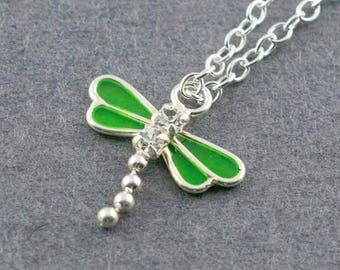 Dragonfly Necklace, Bug Charm Necklace
