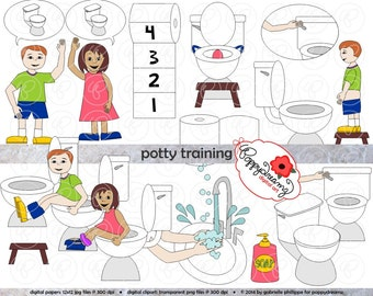 Potty Training Clipart Set (300 dpi) School Teacher Clip Art Toilet Training PreK Kindergarten Early Childhood