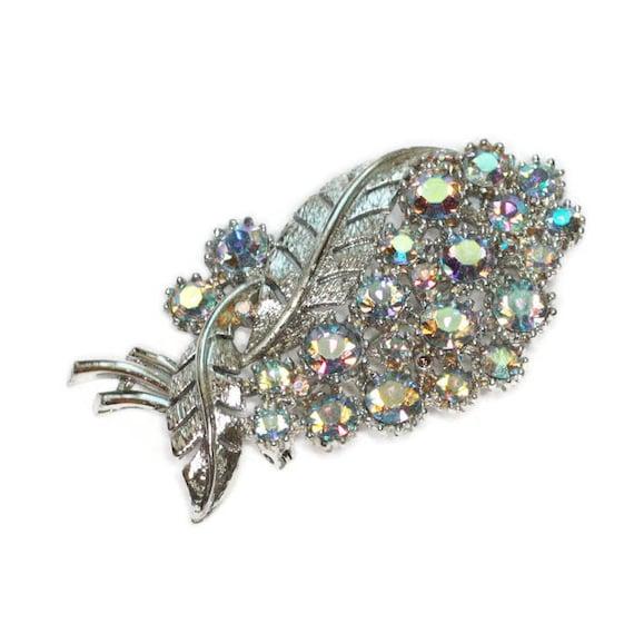 Aurora Borealis Rhinestone Brooch Leaf Design Signed CORO Vintage Pin