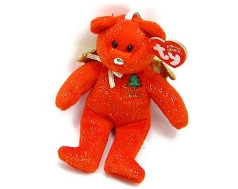 "PEACE BEANIE BEAR By ""Ty"", Vintage Jingling Ornament, Plush-Fur Animal, Mint New Original Tags, Holiday Christmas Decor, 3 Petunia Place"
