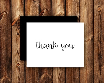 Printed Black and White Thank You Cards Modern  Wedding Thank You Card Contemporary Elegant Black & White Folded Blank Note Card - Option 2