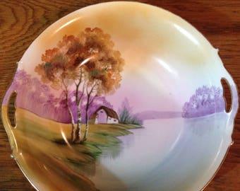 Vintage Noritake Large Handpainted Lake House Bowl